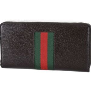 NWT Gucci Leather Web Stripe Zip Wallet 408831